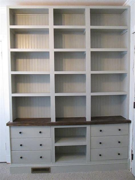 Builtin Bookshelves With Rast Drawer Base  Ikea Hackers
