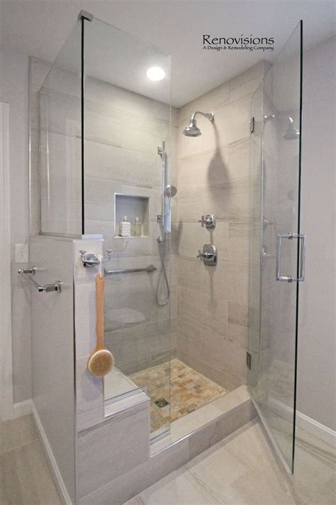 shower panels instead of tiles that way you can modify the fixed panel to accommodate the knee