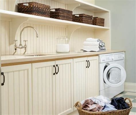 Beadboard Cabinets  Cottage  Laundry Room  House & Home