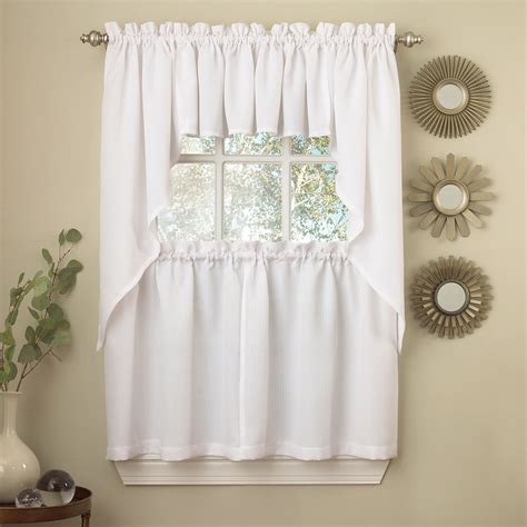 white solid opaque ribcord kitchen curtains choice of tiers valance or swag ebay