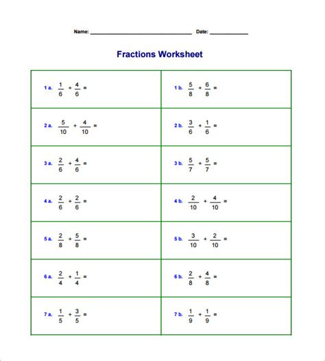 15+ Adding And Subtracting Fractions Worksheets  Free Pdf Documents Download  Free & Premium
