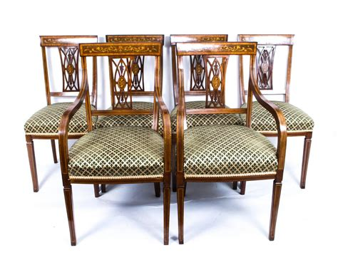 Antique Set Of Six Edwardian Inlaid Mahogany Dining Chairs Salvaged Kitchen Sinks For Sale Kohler Undertone Sink Large Single Unclogging A With Standing Water Unstopping Cheap Faucets White Composite The Play