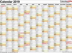 2019 Calendar Excel Financial Calendars Australia Calendar