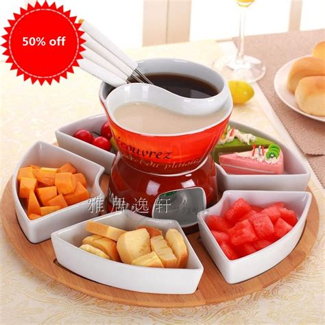 free shipping 2grid fondue pot set ceramic chocolate cooking pot icecream chafing dish cheese