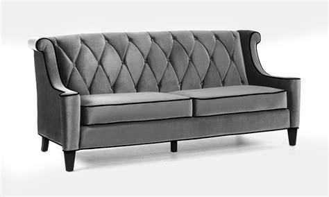 armen living barrister sofa set gray velvet black piping lc8443gray set homelement