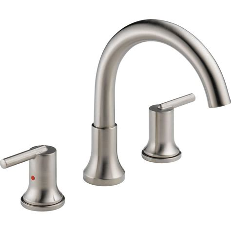 delta trinsic 2 handle deck mount tub faucet trim kit only in stainless valve not