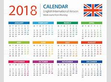 Calendar 2018 English European International Version Stock