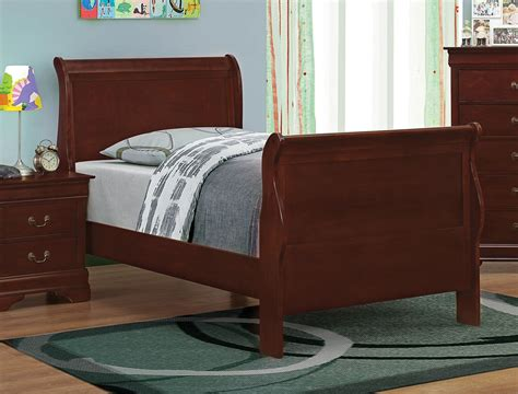 louis philippe reddish brown sleigh bed from coaster