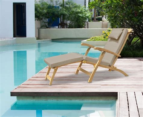 halo teak steamer chair with free cushion brass fittings