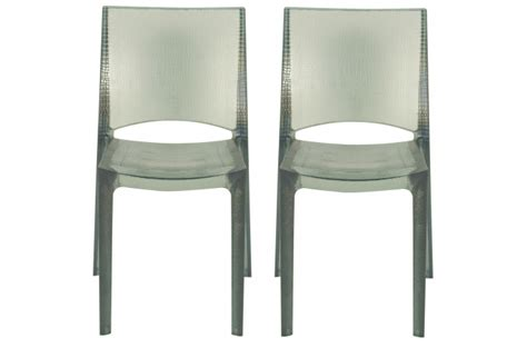 lot de 2 chaises grises fonc 233 es fum 233 es transparentes nilo chaise design pas cher