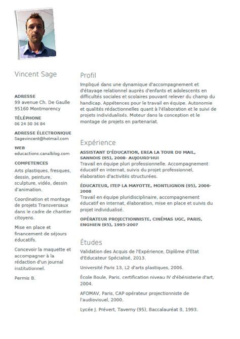 modele cv educateur technique specialise cv anonyme