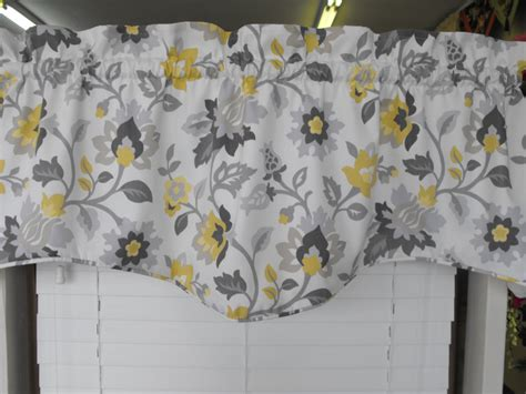 yellow and gray floral window curtain valance treatment decofurnish