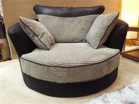 grande jumbo black grey fabric cord cuddle swivel