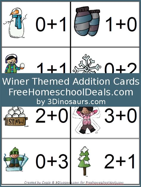 Free Winter Themed Addition Cards (instant Download)  Free Homeschool Deals