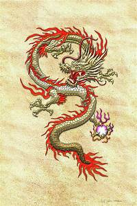 Golden Chinese Dragon Fucanglong On Rice Paper Digital Art ...