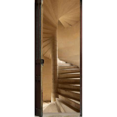 sticker de porte trompe l oeil quot escalier 224 vis quot avenue