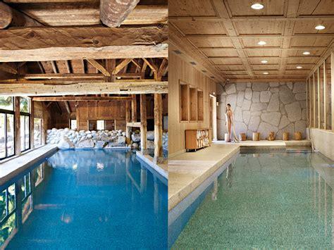 les fermes de meg 232 ve piscine int 233 rieure esprit chalet bois spa piscine