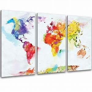 Bild 3 Teilig Auf Leinwand : kunstdruck auf leinwand bilder bunte weltkarte retro landkarte aquarell bild xxl ebay ~ Markanthonyermac.com Haus und Dekorationen