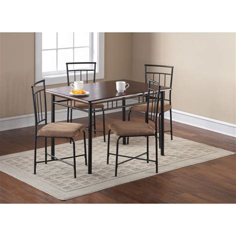 Kitchen Table Chairs At Walmart by 5 Wood And Metal Dining Set Espresso Nyfastfurniture
