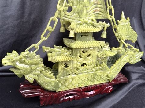 Jade Dragon Boat Carving by Jade Dragon Boat Carving Handmade In China For Sale Bj38c