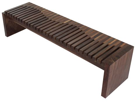 Walnut And Tamburil Wood Contemporary Bench Contemporary