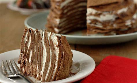 chocolate crepe cake chocolate crepe cake recipes noshon it