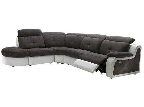 canap 233 d angle relaxation 233 lectrique 5 places en tissu georgio coloris gris et blanc conforama