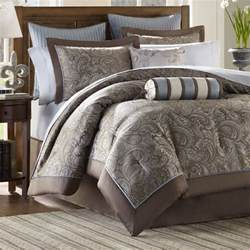 brown blue 12 luxury paisley bedding bed comforter set king cal king ebay