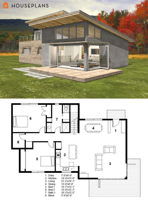 small modern cabin house plan by freegreen energy efficient house plans cabin