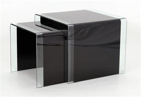 Black Glass Nest Of Tables-choice Mart