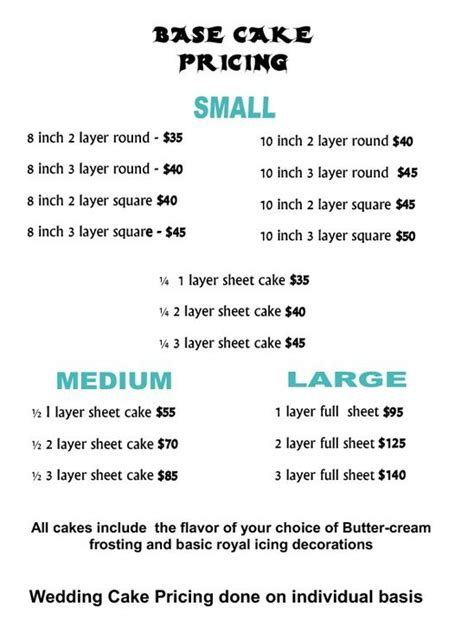 cake pricing chart 25 best ideas about cake pricing on cake