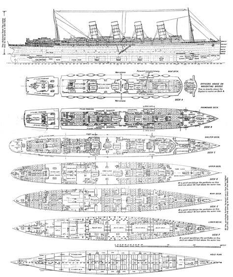 rms lusitania deck plans ship schematics cutaways diagrams titanic