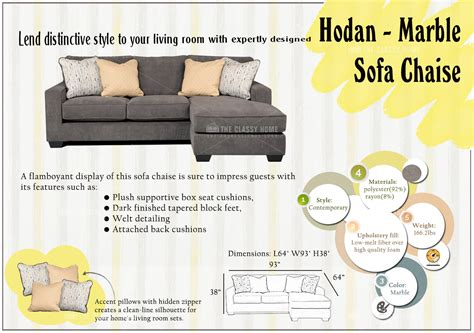 Ashley Hodan Sofa Chaise In Marble  Review Home Co