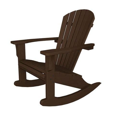 shop polywood seashell mahogany recycled plastic rocking casual adirondack chair at lowes