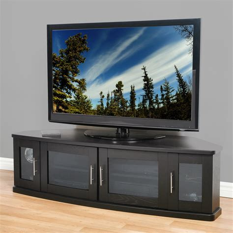 large corner tv cabinet with 4 glass doors and silver handle hardware decofurnish