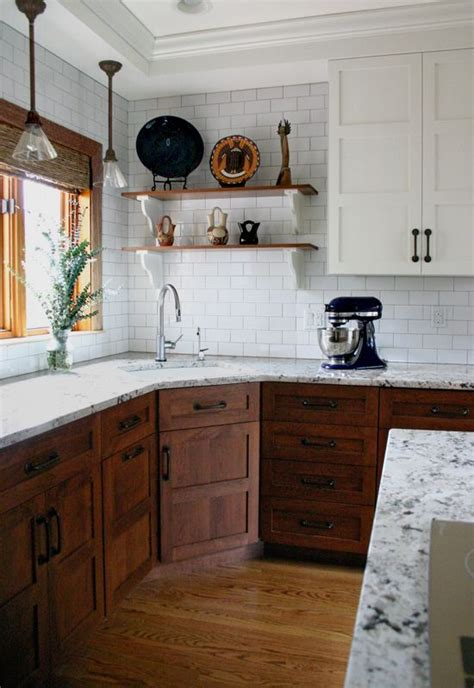 cabinets subway tiles and woods on