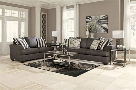 levon collection charcoal sofa loveseat set