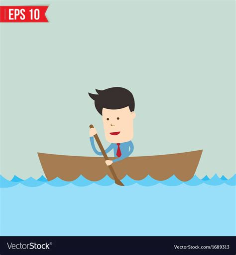 Cartoon Man In A Boat by Cartoon Business Man Rowing A Boat Eps1 Vector Image