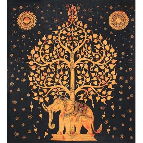 tenture indienne motif 233 l 233 phant et arbre de vie tenture murale et or d 233 coration