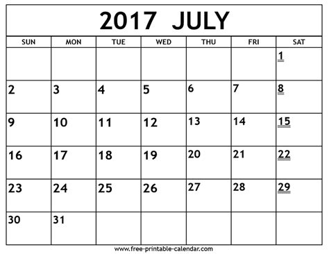 calendar template for june july august 2017 printable 2017 july calendar