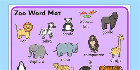 Zoo Vocabulary Mat  Esl Zoo Vocabulary