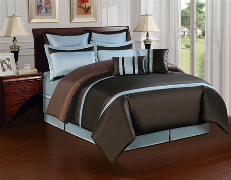 bedroom size bed with brown blue and yellow bedding combined grey carpet on wooden floor