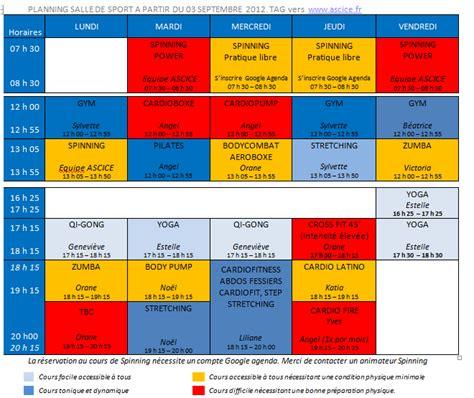 planning salle de sports pour la saison 2012 2013 ascice une association qui bouge aussi