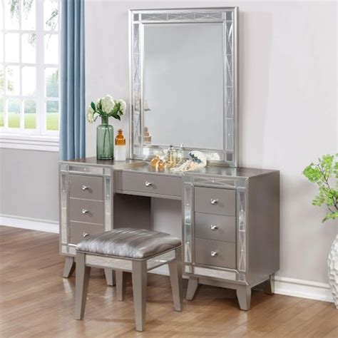 Vanity And Work Desk Combo by Coaster Leighton Glam Vanity Desk Stool And Mirror Combo