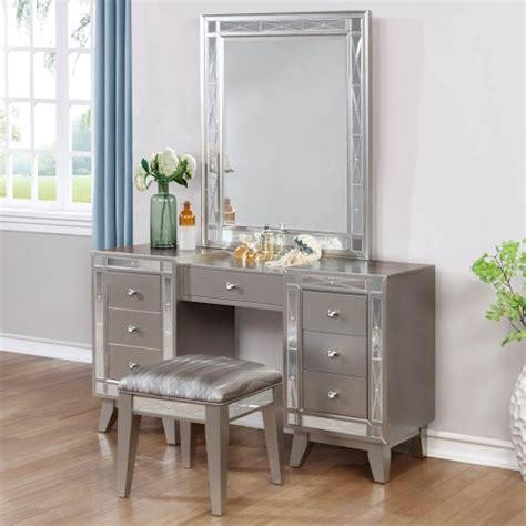 coaster leighton glam vanity desk stool and mirror combo dunk bright furniture vanities