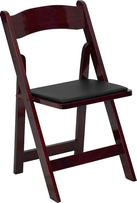 hercules series mahogany wood folding chair padded vinyl seat bar restaurant furniture