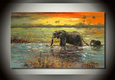 livraison gratuite l 233 l 233 phant d afrique riverside paysage peinture 224 l huile sur toile de