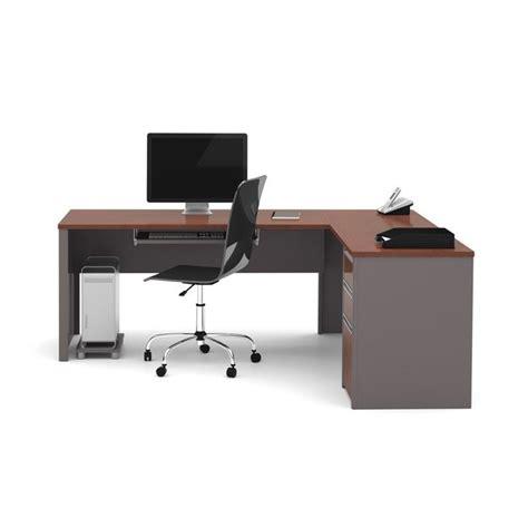 bestar connexion l shaped workstation with 1 pedestal in bordeaux 93880 39