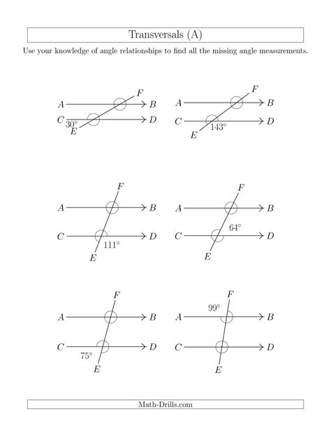 Angle Relationships In Transversals (a