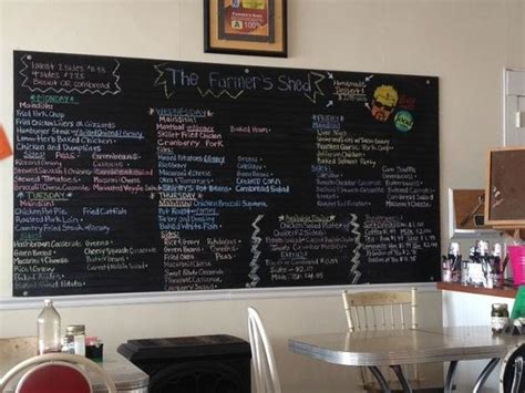 menu board picture of the farmer s shed